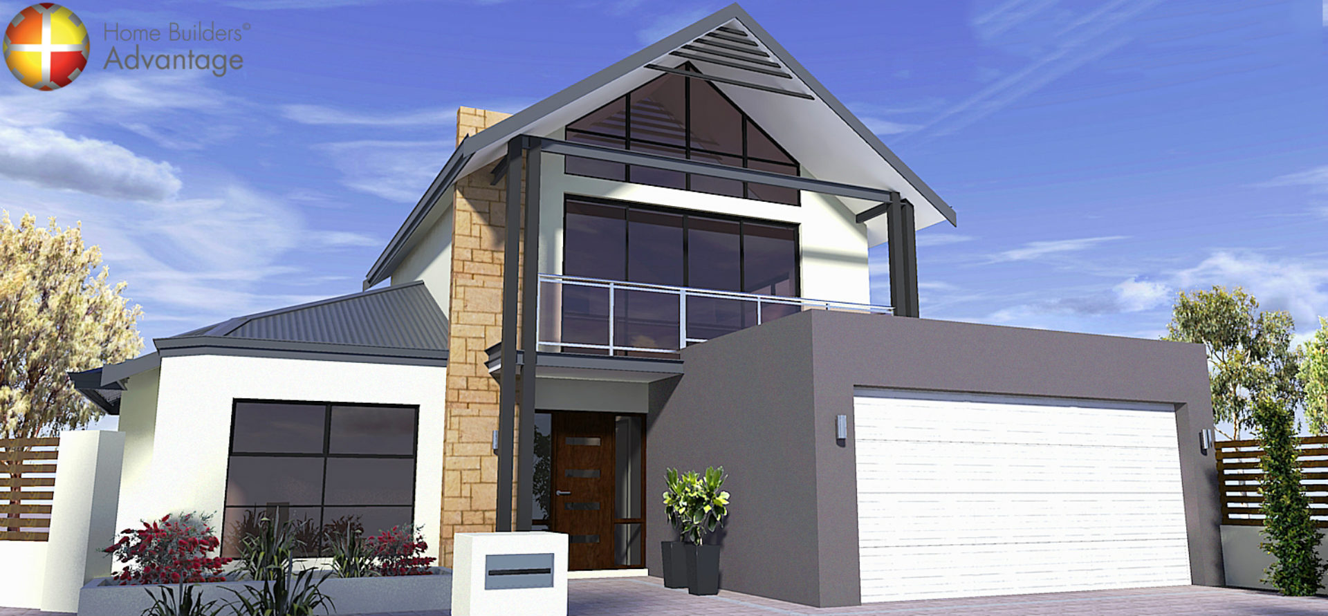 Front elevation two storey loft design with raking windows for Loft home designs perth
