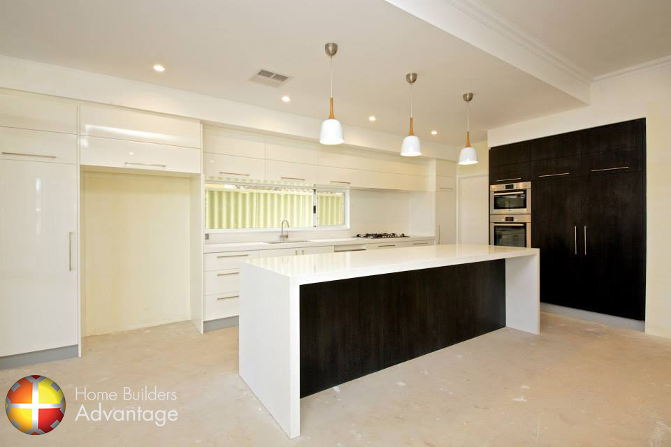 Galley style kitchen with island bench with waterfall ends for Galley kitchen with island bench