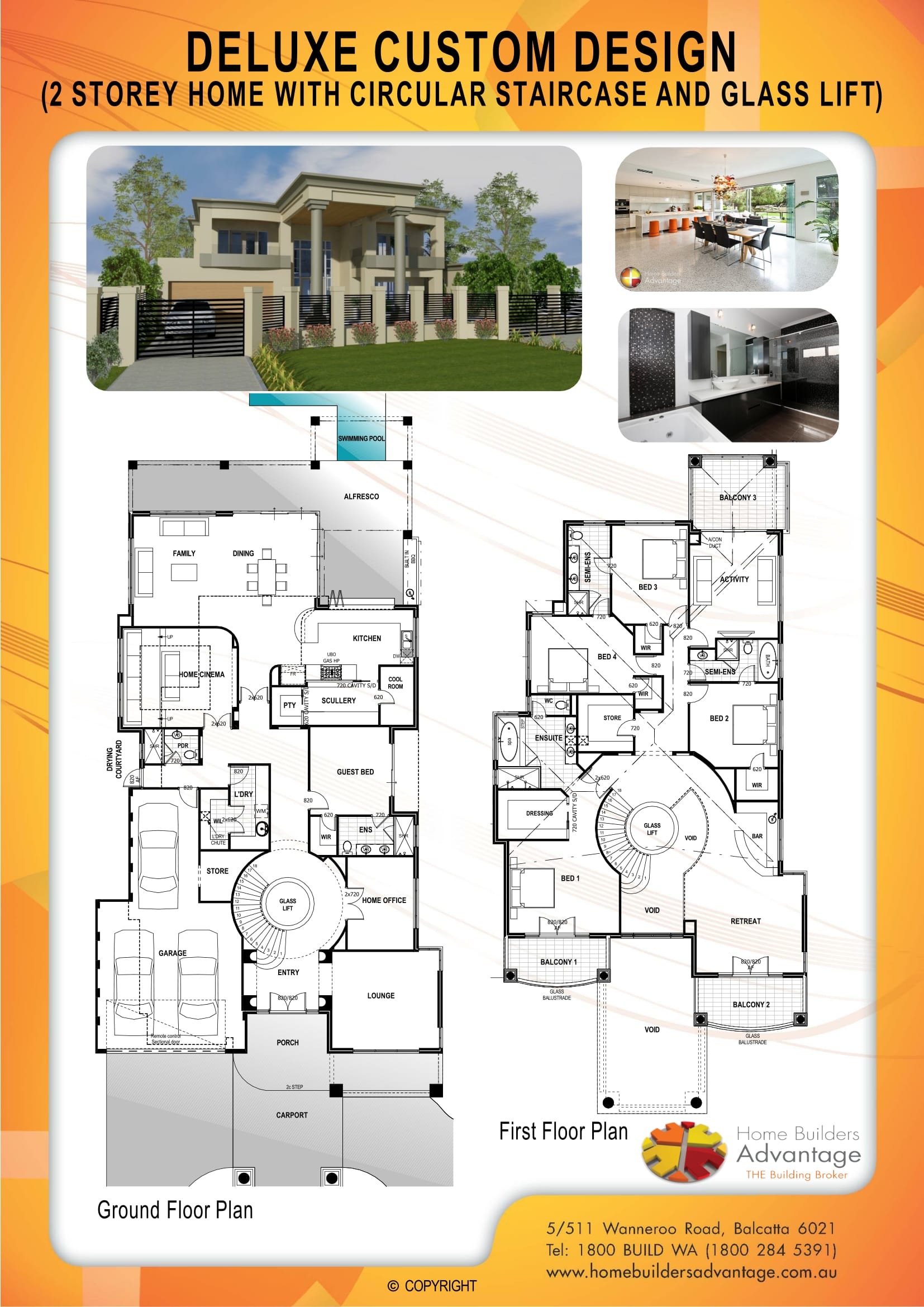 Deluxe Custom Design (2 Storey Home With Circular Staircase And Glass Lift)-1
