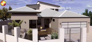 Custom Design Three Storey Undercroft Canal Home Front Elevation