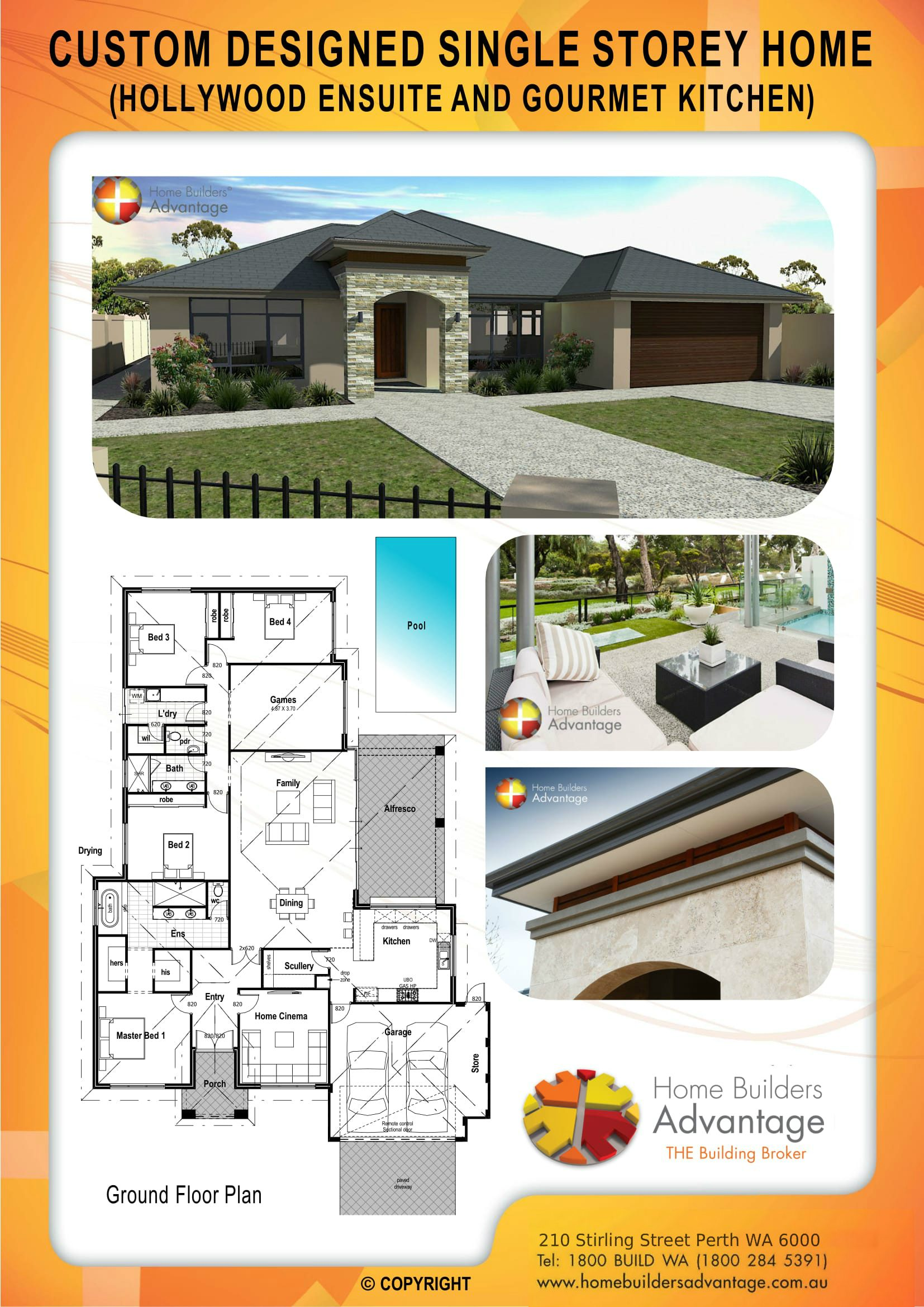 Custom Designed Single Storey Home (Hollywood Ensuite And Gourmet Kitchen) Floor Plan Home Builders Advantage Perth The Building Broker