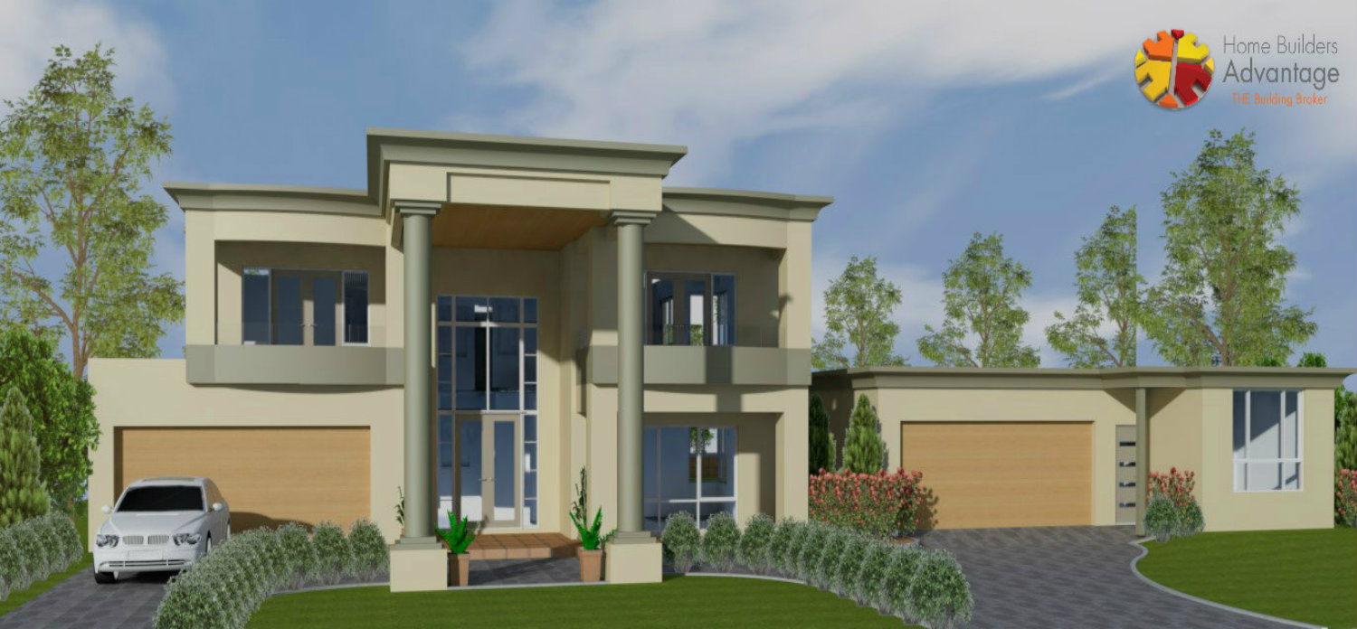 custom design luxury deluxe neoclassical two storey home with glass lift twin garage grand portico balcony six reception rooms front elevation home builders advantage perth the building broker