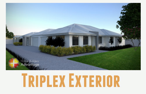 Triplex Unit Development with Home Theatre External Elevation Home Builders Advantage Perth The Building Broker