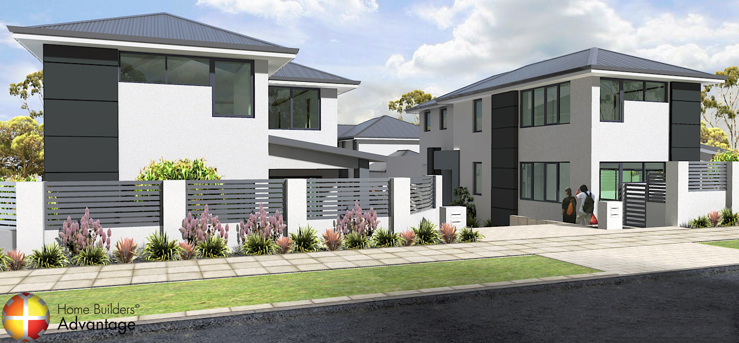 custom design quad two storey townhouse development front elevation home builders advantage perth the building broker