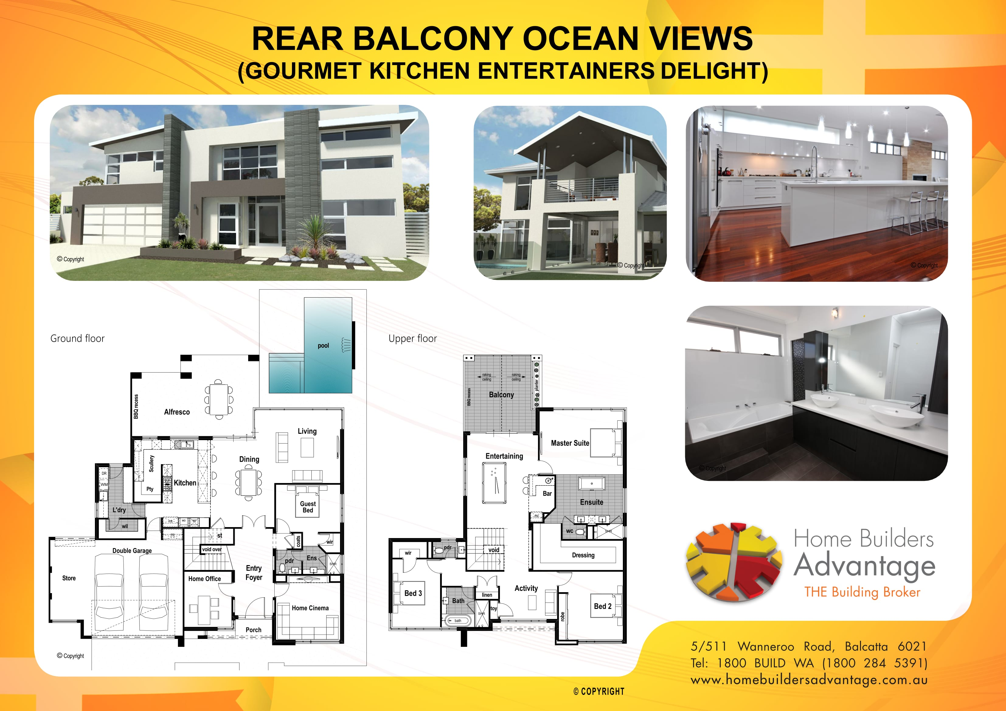 Rear Balcony Ocean Views (Gourmet Kitchen Entertainers Delight) Floor Plan Home Builders Advantage Perth The Building Broker