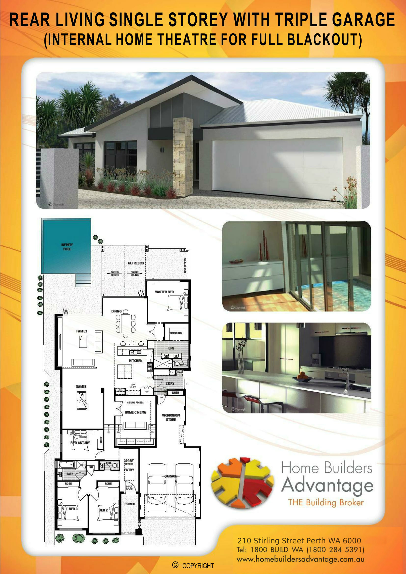 Rear Living Single Storey With Triple Garage (Internal Home Theatre For Full Blackout) Floor Plan Home Builders Advantage Perth The Building Broker