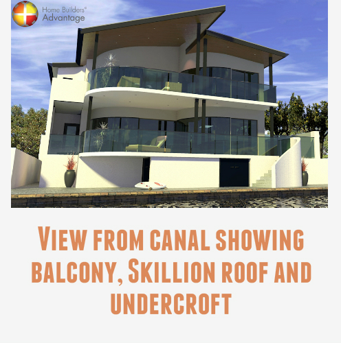Custom Design Three Storey Undercroft Canal Home Rear Elevation With Quote Home Builders Advantage Perth The Building Broker Curved Balconies Sloping Roof