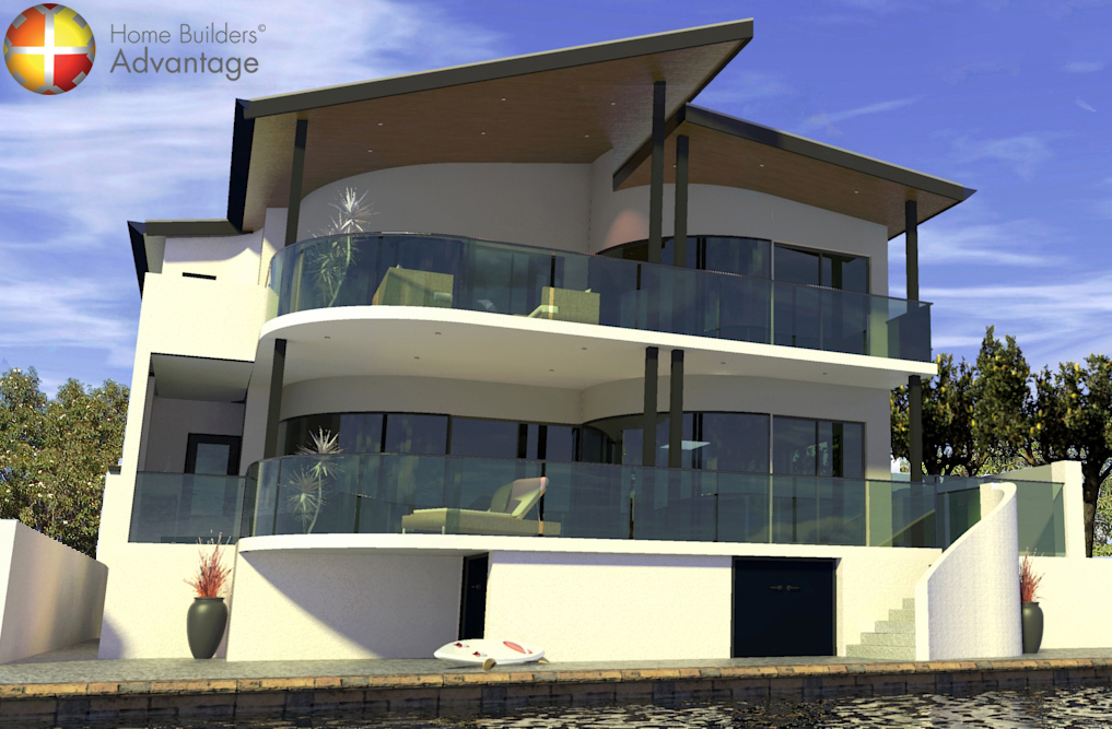 Three Storey Custom Design Canal Home Rear Elevation Curved Balconies Undercroft Home Builders Advantage Perth The Building Broker