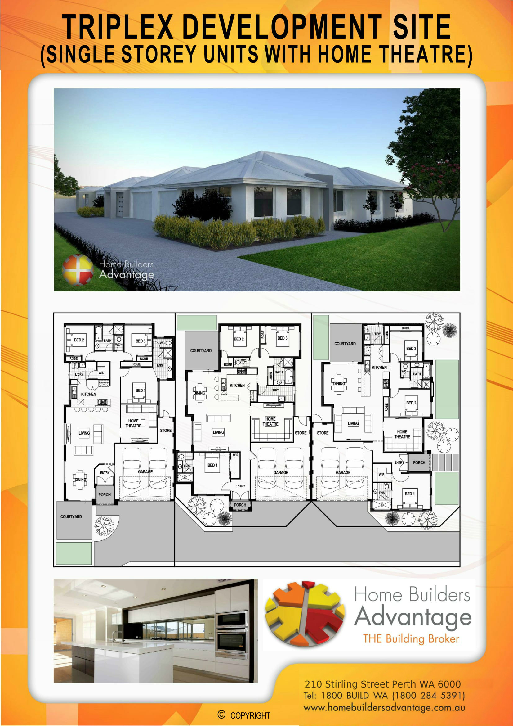 Triplex Development Site (Single Storey Units With Home Theatre) Home Buildes Advantage Perth The Building Broker Floor Plan