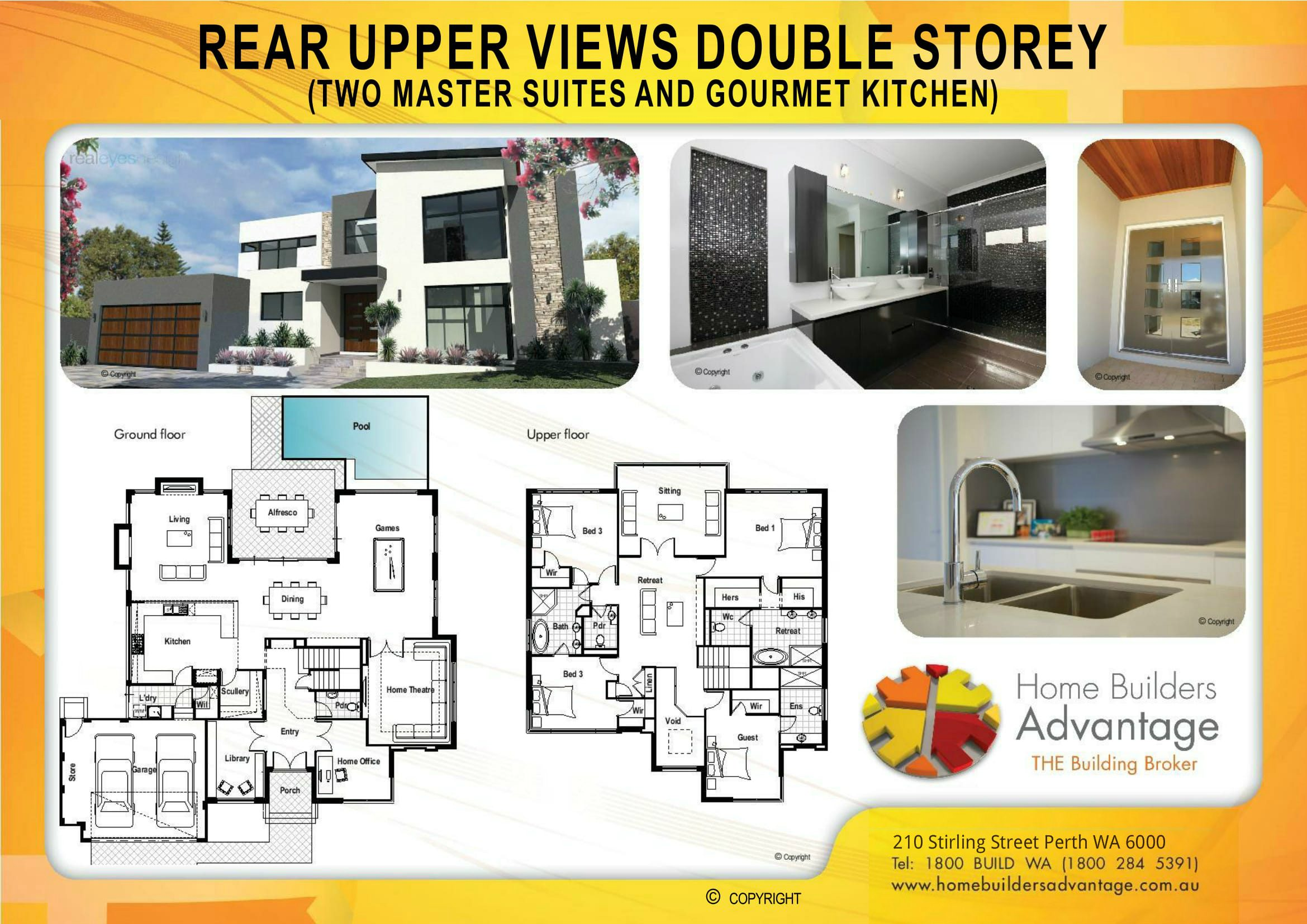 REAR UPPER VIEWS DOUBLE STOREY (TWO MASTER SUITES AND GOURMET KITCHEN) Floor Plan Home Builders Advantage Perth The Building Broker