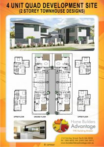 Duplex triplex and quad floor plans by hba for 4 unit townhouse plans