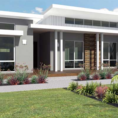 Picture of a single storey house custom designed by Home Builders Advantage. Custom design of a single storey house.