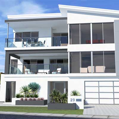 Picture of a three storey house designed by Home Builders Advantage. Custom design of split level house.